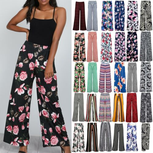 Womens Floral Palazzo Trousers Ladies Bottom Flared Baggy Wide Leg Pants Legging