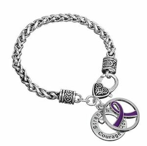 Purple Ribbon Relay For Life Cancer Strength Hope Crourage Silver Charm Bracelet