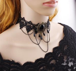 Women-Black-Lace-Necklace-Collar-Choker-Victorian-Vintage-Gothic-Chain-Pendant