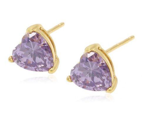 24ct Gold Filled GF Heart Shape Amethyst Gemstone 8mm Ladies Stud Earrings