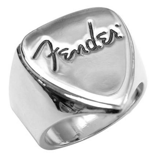 """Fender"" Guitar Licenced Men's Design Logo Rings in Fender Tin Cans ~ Size 9 ~"
