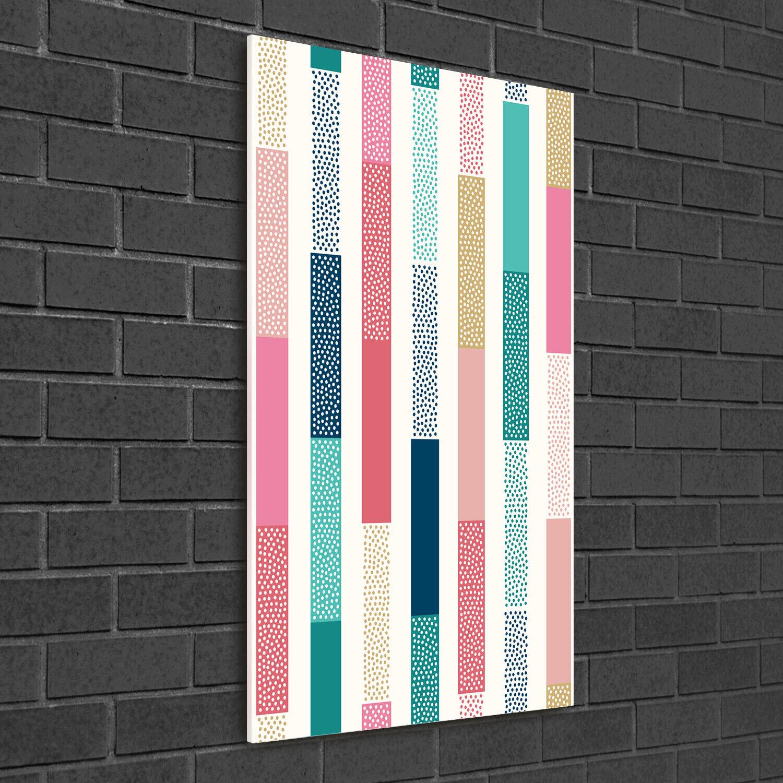 - Muro ARTE Immagine pressione rigida-VETRO verdeICALE 50x100 Strisce Coloreeata