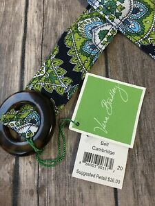 Vera-Bradley-Belt-Cambridge-New-Paisley-Boho-Navy-Green-Floral-Reversible-Cloth