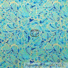 BonEful Fabric FQ Cotton Quilt Aqua Blue Gold Peacock Feather Metallic Paisley S