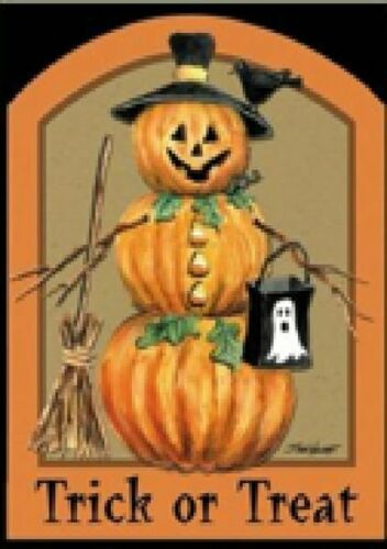 "FM137  TRICK OR TREAT HALLOWEEN SCARECROW PUMPKIN GARDEN FLAG 12/"" X 18/""  BANNER"