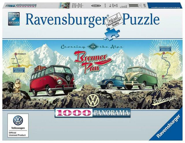 Ravensburger Cross The Alps with VW Panoramic Jigsaw Puzzle - Caravan Cars