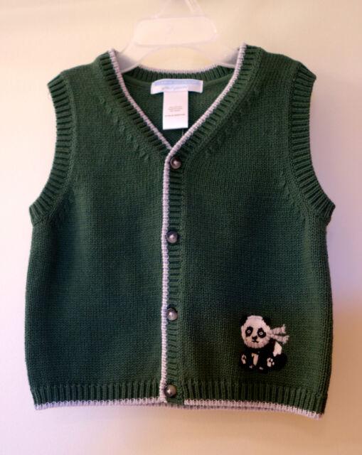 7f25699cf947 NWT Janie and Jack Little Panda Green Cardigan Sweater Vest Boy s 6 ...