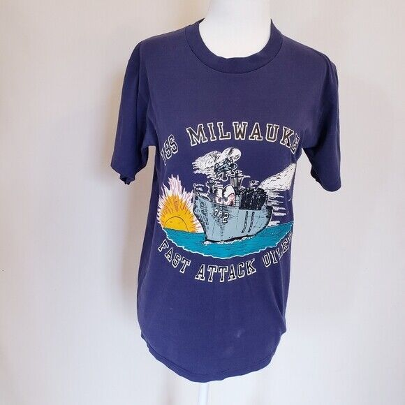 Vintage USS Milwaukee Fast Attack Oiler Graphic Short Sleeve T-shirt, Adult M