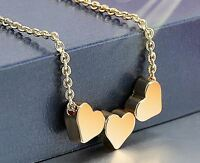 Three Hearts Women Gold Stainless Steel Jewelry Charms Necklace Pendant