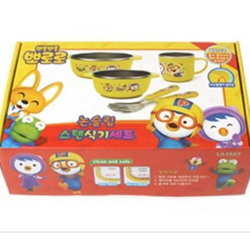 Non Slip Pororo Feeding Kid Baby Bowl Dish Spoon Cup Stainless Steel Set Korea