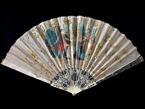 Superbe-eventail-soie-XVIII-fan-ventaglio-facher-silk-18th