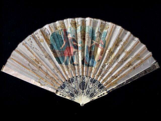Superbe éventail soie XVIII fan ventaglio facher silk 18th