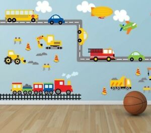 Wall-stickers-balloon-car-world-track-truck-Decor-Removable-Nursery-Kids-Baby