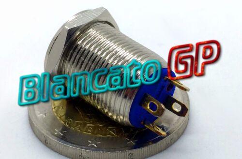 PULSANTE SPST 12mm MONOSTABILE LED DC BLU ottone cromato illuminato unipolare