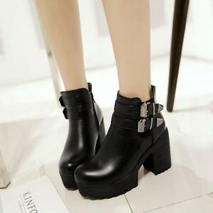 New-Gothic-Ladies-Punk-Platform-Shoes-Chunky-Heels-Buckle-Ankle-Boot-Size-UK2-8