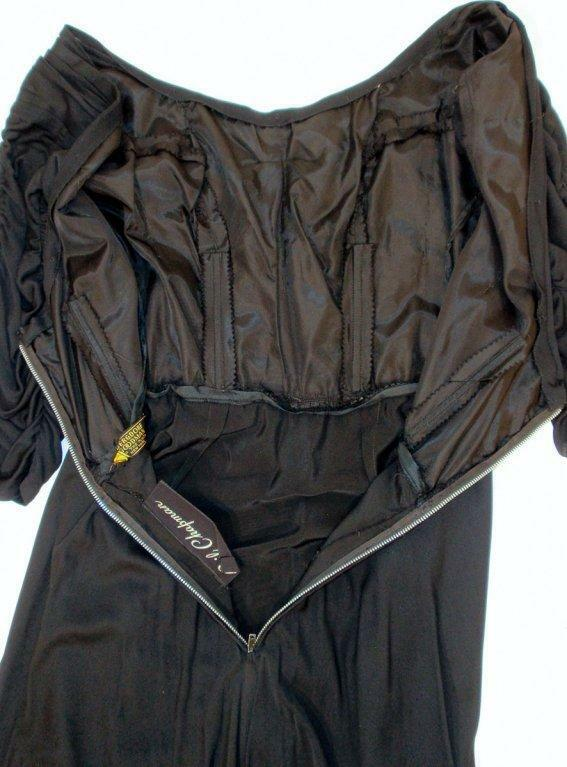 CEIL CHAPMAN Black Ruched Cocktail Dress with 3/4… - image 9