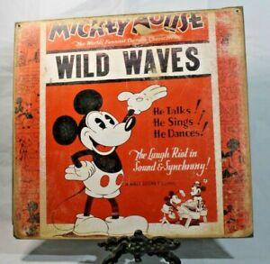 MICKEY MOUSE WILD WAVES Retro Handmade DISNEY vintage sign