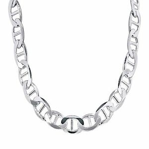 3-12mm 18-30 Italy Made Great Necklace for Pendants Mens Ladies Solid 925 Sterling Silver Mariner Link Chain