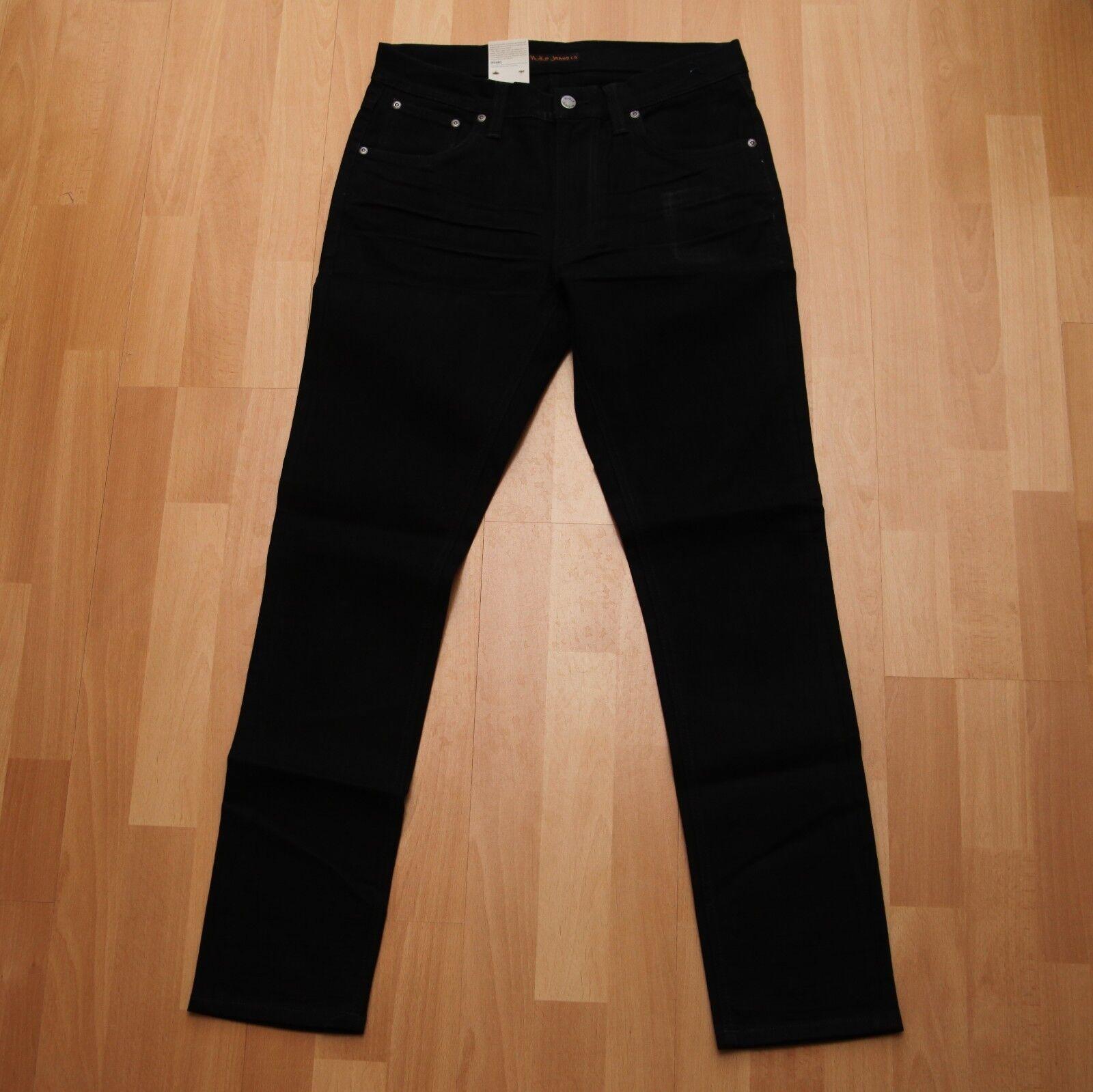 NEU Nudie Jeans Lean Dean (Carrot Shape) schwarz Sorrow 32 32