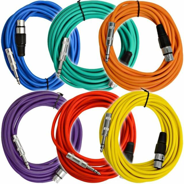 """Lot 6 GLS Audio 3ft Patch Cable Cords XLR Male To 1//4/"""" TRS 2 Conductor /& shield"""