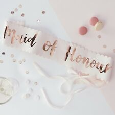 FLORAL PINK ROSE GOLD TEAM BRIDE TO BE SASH VINTAGE SASHES HEN PARTY ACCESSORIES