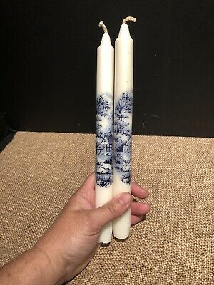 """Pair of 10/"""" Beeswax Taper Candles Made in Germany Christmas Holiday Wreath Boxed"""