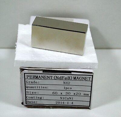 Neodym Magnet Ndfeb 60 X 30 X 20 Mm - N42 Nicuni Supermagnet Rheuma Und ErkäLtung Lindern