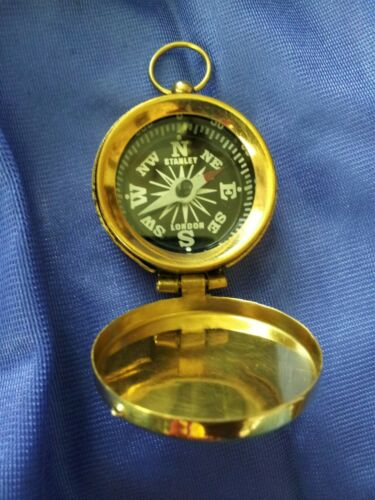 QUALITY BRASS KEY RING COMPASS WITH LID UK SELLER