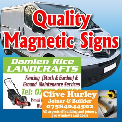 Pair of magnetic signs QUALITY with FREE DESIGN van car laminated personalised