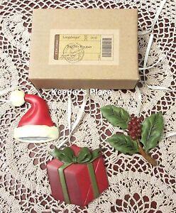 3-Longaberger-Basket-Tie-On-Christmas-Holiday-Santa-Hat-Holly-Gift-New-Trio-Set