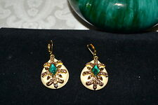 KENNETH JAY LANE Rare IMPERIAL RUSSIA Cream Enameled Leverback Earrings Emerald