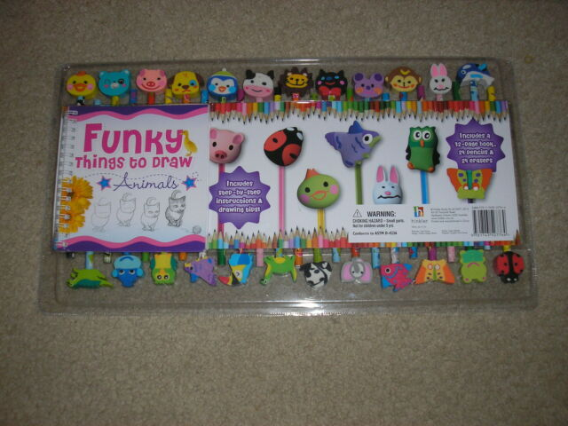 Brand New Factory Sealed Funky Things to Draw with 24 Animal Pencils & Erasers