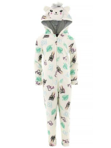 dELiA*s Girl/'s Llama White Plush Fleece Long Sleeved Hooded One-Piece Pajamas