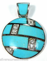 Authentic Natural Blue Turquoise Inlay & White Topaz 925 Sterling Silver Pendant