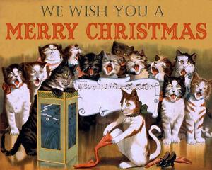 Singing Cats Christmas Vintage Advertising Enamel Metal Tin Sign