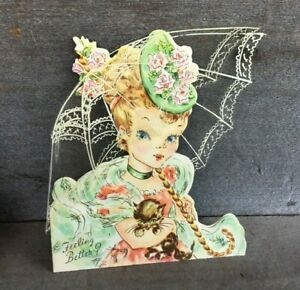 Vintage-Regal-Greeting-Card-All-Occasion-GET-WELL-used-Girl-and-Kitten