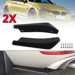 2x-Universal-Negro-Brillante-Parachoques-Trasero-Difusor-De-Labio-Divisor-Canard-protector-coche