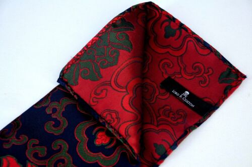 Navy /& Red Madness Silk $75 New Lord R Colton Masterworks Pocket Square