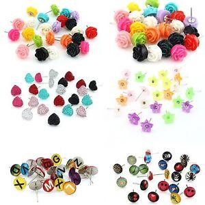 Mixed-12pairs-Enamel-Resin-Letter-Heart-Flower-Rose-Stud-Earrings-Display-Pad