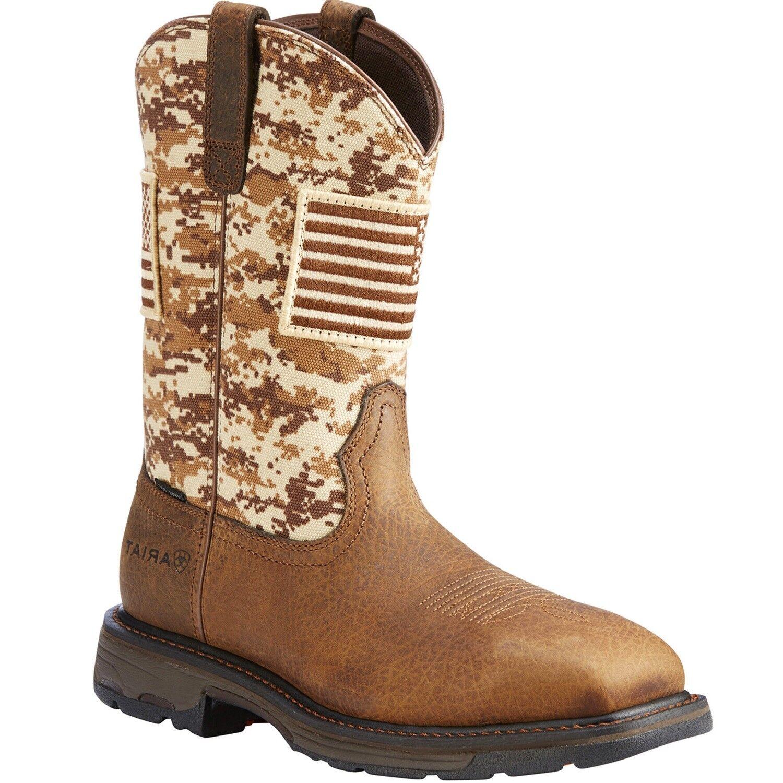Ariat Men's Brown Workhog Patriot Square Steel Toe Work Boots 10022968
