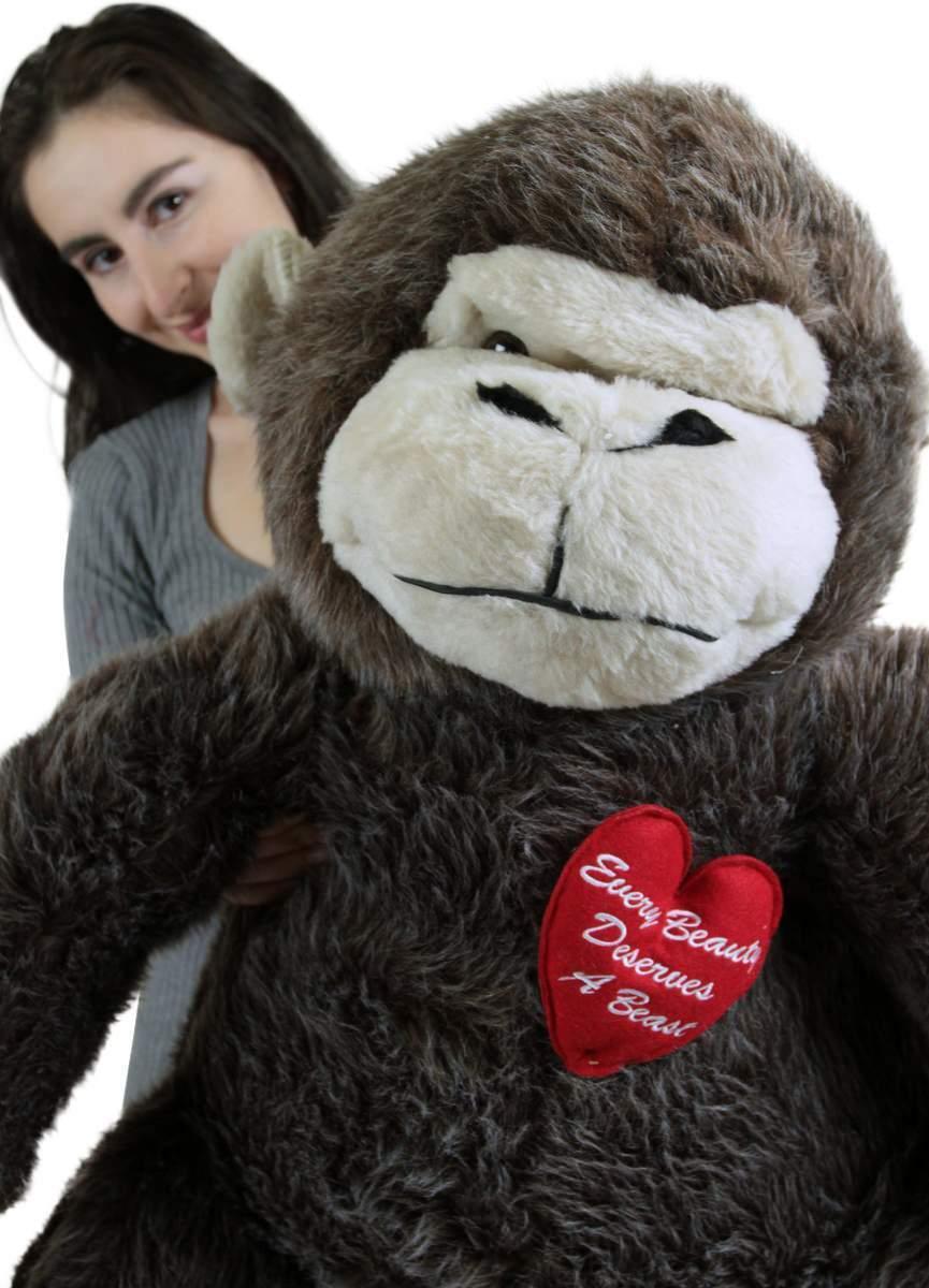 Giant Stuffed Love Monkey 40 inch marrone Soft Heart Every Beauty Deserves a Beast
