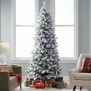 Details About Hayneedle 6 5 Pre Lit Clear Classic Flocked Slim Artificial Christmas Tree