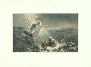 JK-THOMSON-Antique-XRare-Ea1900s-10s-Print-Jesus-039-Birth-THE-FIRST-CHRISTMAS-MORN