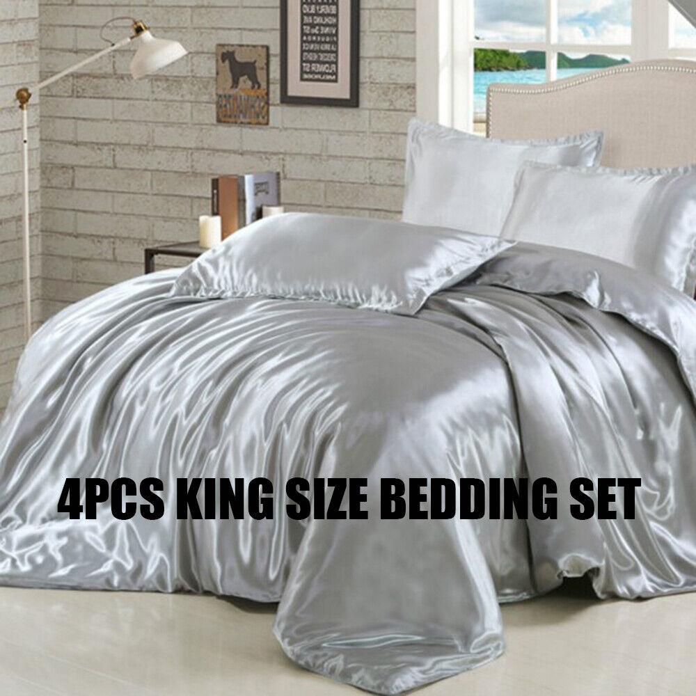 Pure Ice Silk Satin King Size Bedclothes Duvet Cover Pillowcase Bedding Set
