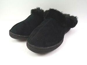 WOMENS Black VELOUR house slippers