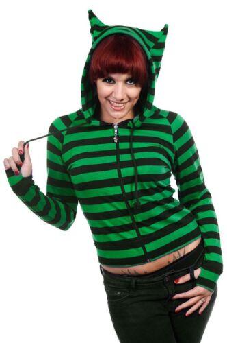 Banned Kapuzen Jacke Sweat Shirt Katze Cat Grün Streifen Gothic Emo #3152 526