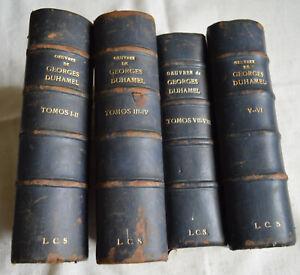 Oeuvres de Georges Duhamel 4 Tomes regroupant les livres de 1 a 8 1922 reliures