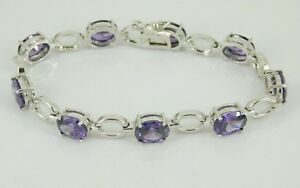 925-Sterling-Silver-Purple-CZ-Tennis-Bracelet-7-034-Long