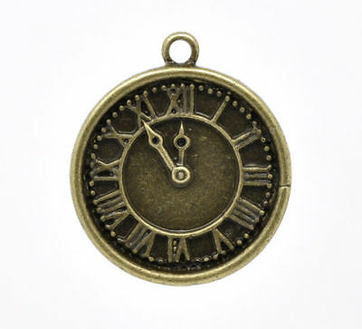 2 x Antique Bronze Clock Charms 28mm x 25mm Steampunk Style (ab-cf-28.25)