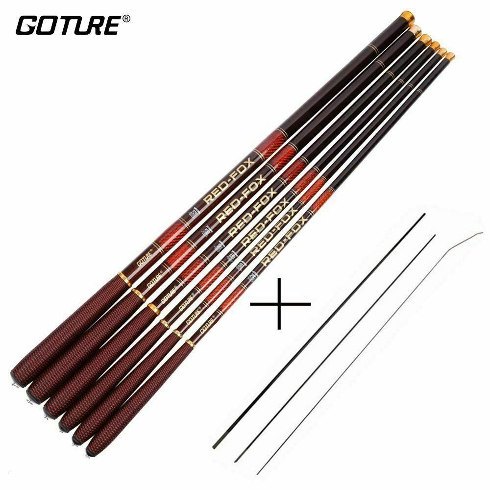Goture Carbon Fiber Telescopic Fishing Rod Ultra-light Stream Hand Pole Carp Fee